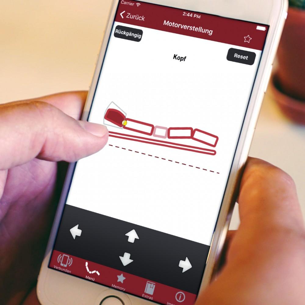 Healthcare-App-Entwicklung. Steuerungs-App für Lattoflex-Bettsystem der Thomas GmbH