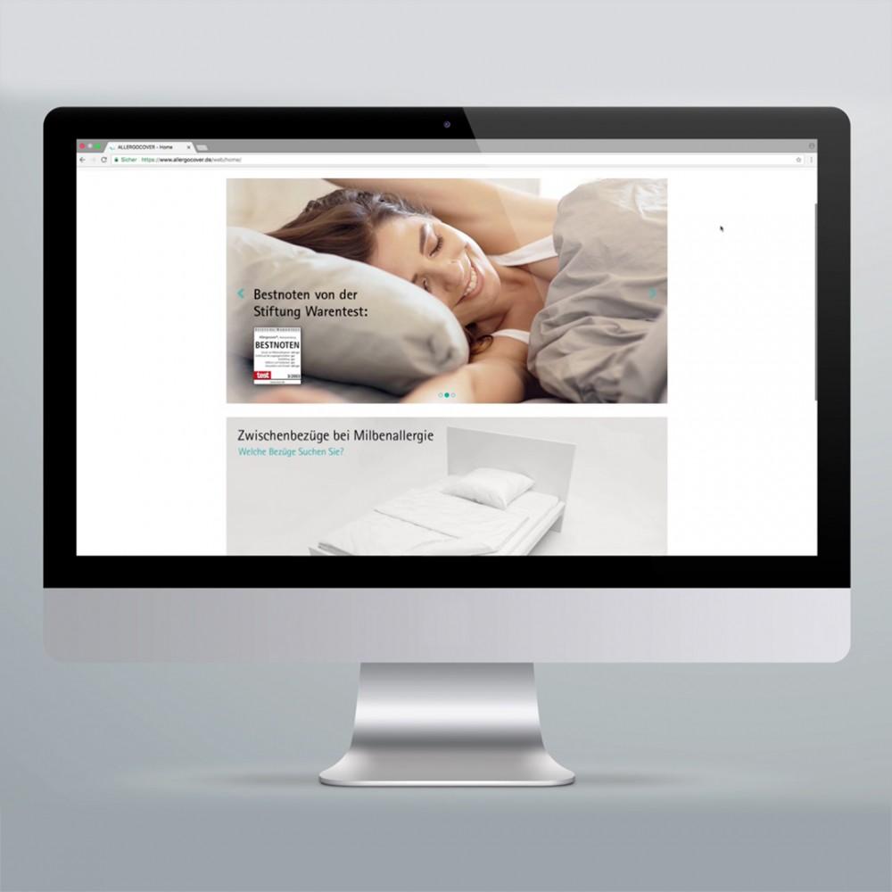 Digitale Kommunikation Pharmaunternehmen. Refresh Online Shop ALLERGOCOVER von Allergopharma/Merck